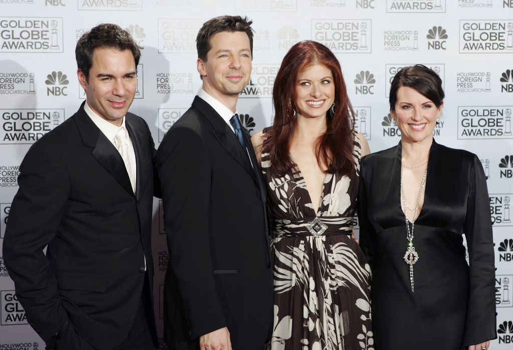 """FILE - In this Jan. 16, 2006, file photo, cast members from the comedy series """"Will & Grace,"""" from left, Eric McCormack, Sean Hayes, De..."""