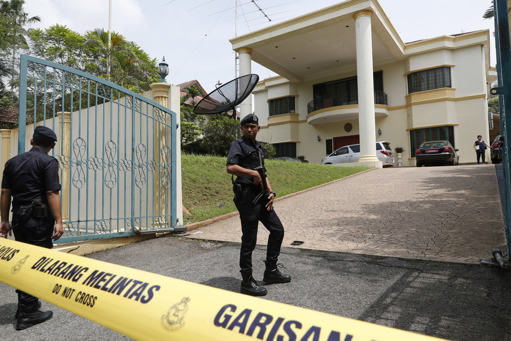 Police puts a cordon off the North Korean embassy in Kuala Lumpur, Malaysia, Tuesday, March 7, 2017.  The bitter diplomatic dispute bet...
