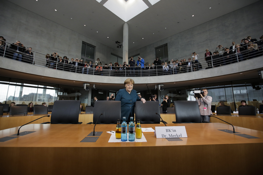 German Chancellor Angela Merkel, aarrives for the questioning by a German parliament committee , investigating the Volkswagen emissions...