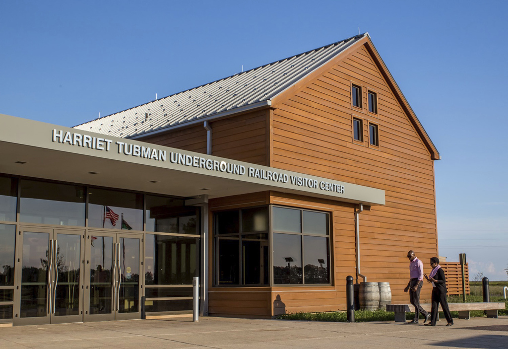 This Oct. 3, 2016 photo shows the exterior of the Harriet Tubman Underground Railroad Visitor Center in Church Creek, Md. The center, s...