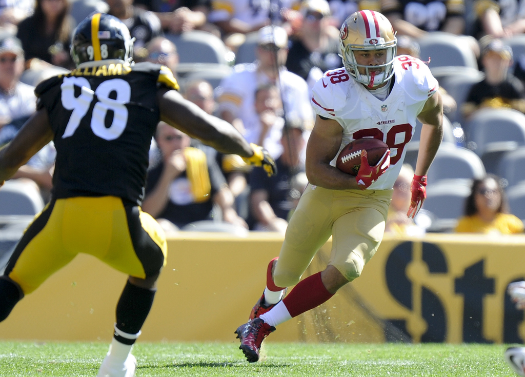 FILE - In this Sept. 20, 2015 file photo, San Francisco 49ers running back Jarryd Hayne (38) runs the ball away from Pittsburgh Steeler...