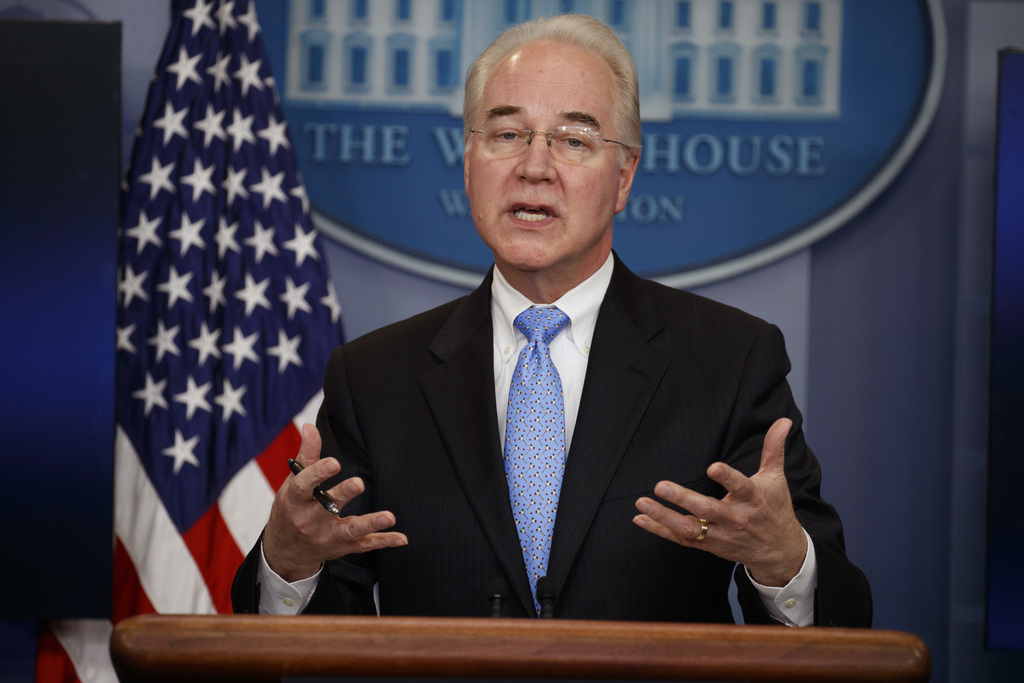 Health and Human Services Secretary Tom Price speaks during the White House press briefing, Tuesday, March 7, 2017, in Washington. (AP ...