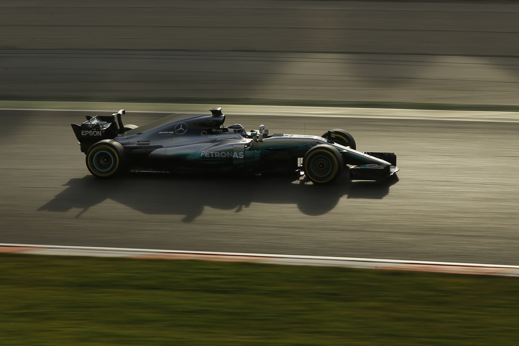 Mercedes driver Valtteri Bottas of Finland steers his car during a Formula One pre-season testing session at the Catalunya racetrack in...