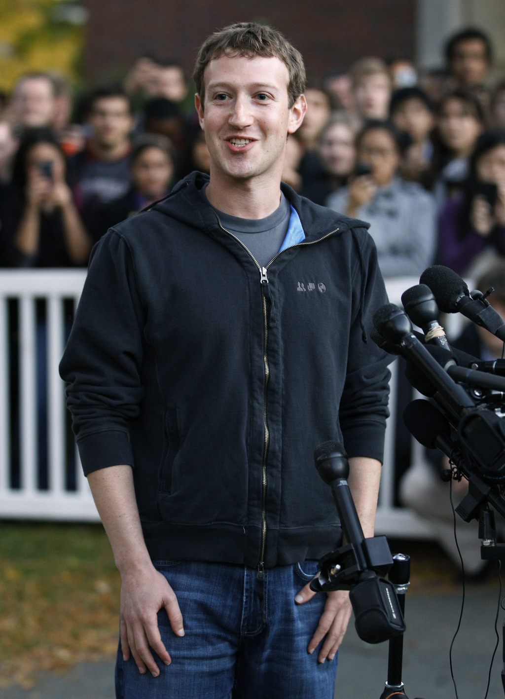 FILE - In this Nov. 7, 2011 file photo, Facebook creator and CEO Mark Zuckerberg takes questions from the media at Harvard University i...