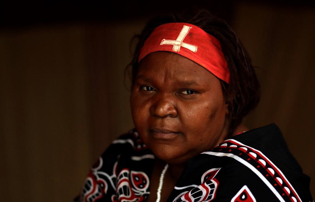 Puseletso Mofokeng, a traditional healer trainee in Tsakane, east of Johannesburg, South Africa, Friday, March 3, 2017. Mofokeng, 48, l...