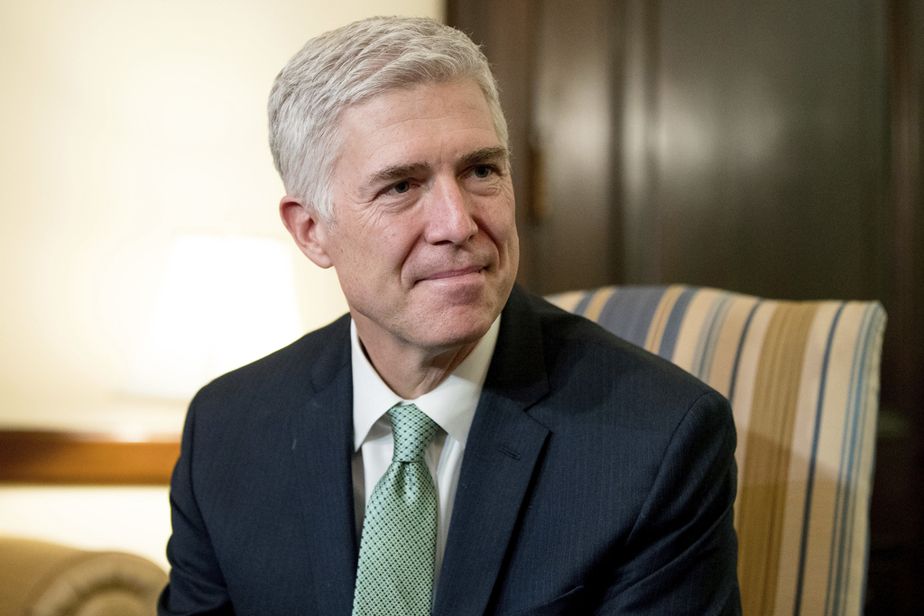 FILE - In this Feb. 14, 2017, file photo, Supreme Court Justice nominee Judge Neil Gorsuch meets with Sen. Chris Coons, D-Del. on Capit...
