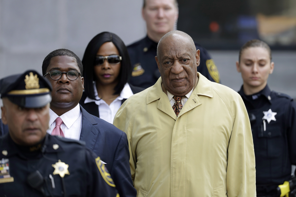 In this Monday, Feb. 27, 2017, file photo, Bill Cosby departs after a pretrial hearing in his sexual assault case at the Montgomery Cou...