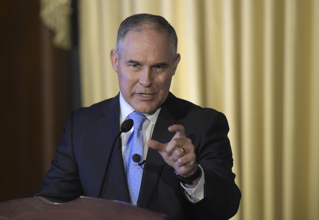 FILE - In this Feb. 21, 2017 file photo, Environmental Protection Agency (EPA) Administrator Scott Pruitt speaks to employees of the EP...