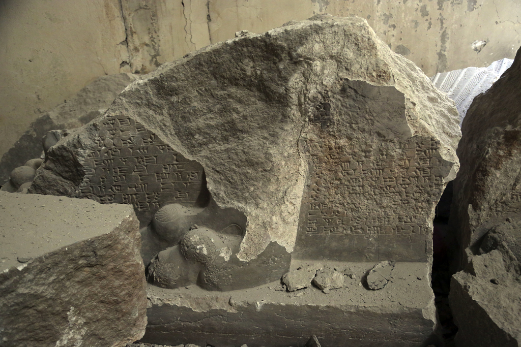 Ancient destroyed artifacts are seen inside Mosul's heavily damaged museum. Most of the artifacts inside the building appeared to be co...