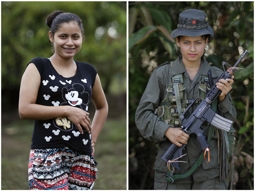 This combo of two photos of FARC rebel Mayerly Munoz shows her 32-weeks pregnant on Feb. 28, 2017 at a FARC camp inside a demobilizatio...