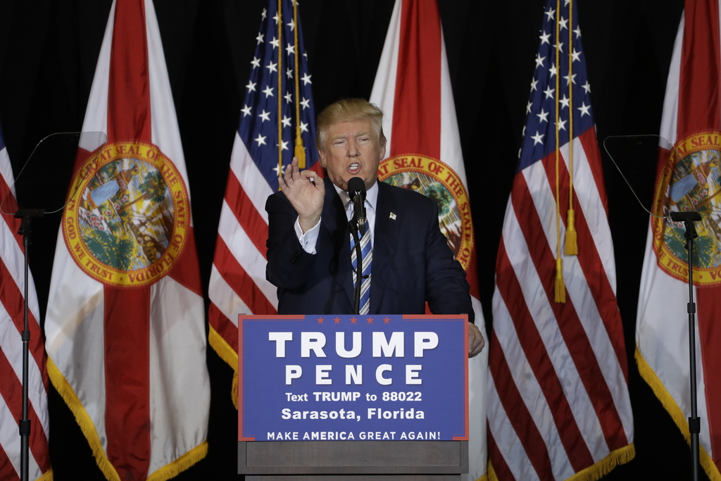 FILE - In this Nov. 7. 2016 file photo, then-Republican presidential candidate Donald Trump speaks during a campaign speech in Sarasota...