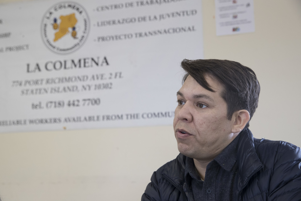 In this Thursday, Feb. 23, 2017 photo, Gonzalo Mercado, director of La Colmena, speaks during an interview at the La Colmena office in ...