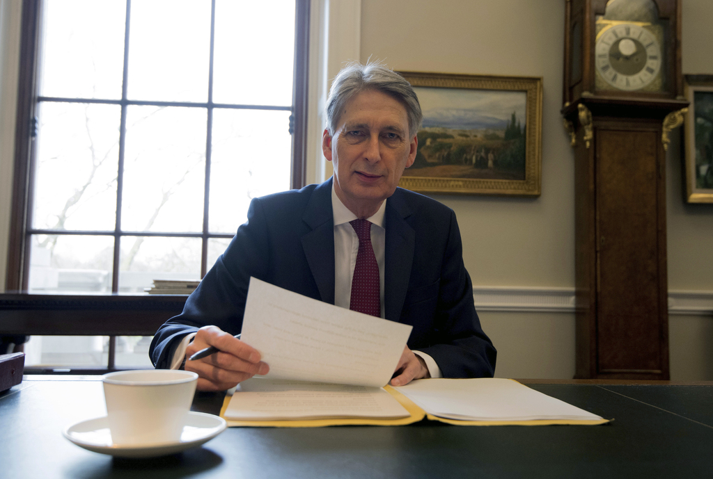 Britain's Chancellor of the Exchequer, Philip Hammond, poses for photographs during final preparations for his official 2017 budget ann...