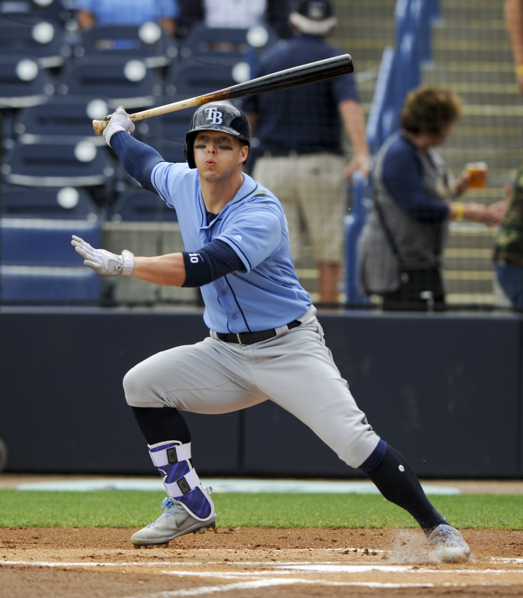 Tampa Bay Rays left fielder Corey Dickerson (10) watches a foul ball while batting in the first inning against the New York Yankees in ...
