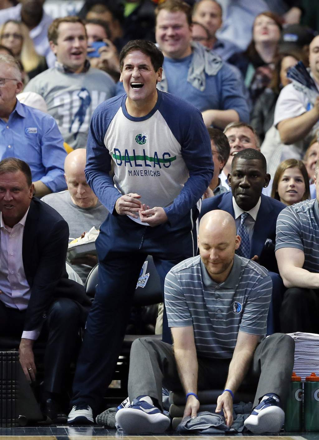 Dallas Mavericks' Dirk Nowitzki (41) of Germany team owner Mark Cuban celebrates as forward Dirk Nowitzki of Germany nears his 30,000th...