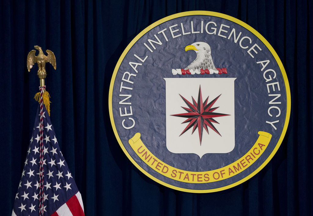 FILE - This April 13, 2016, file photo shows the seal of the Central Intelligence Agency at CIA headquarters in Langley, Va. An alleged...