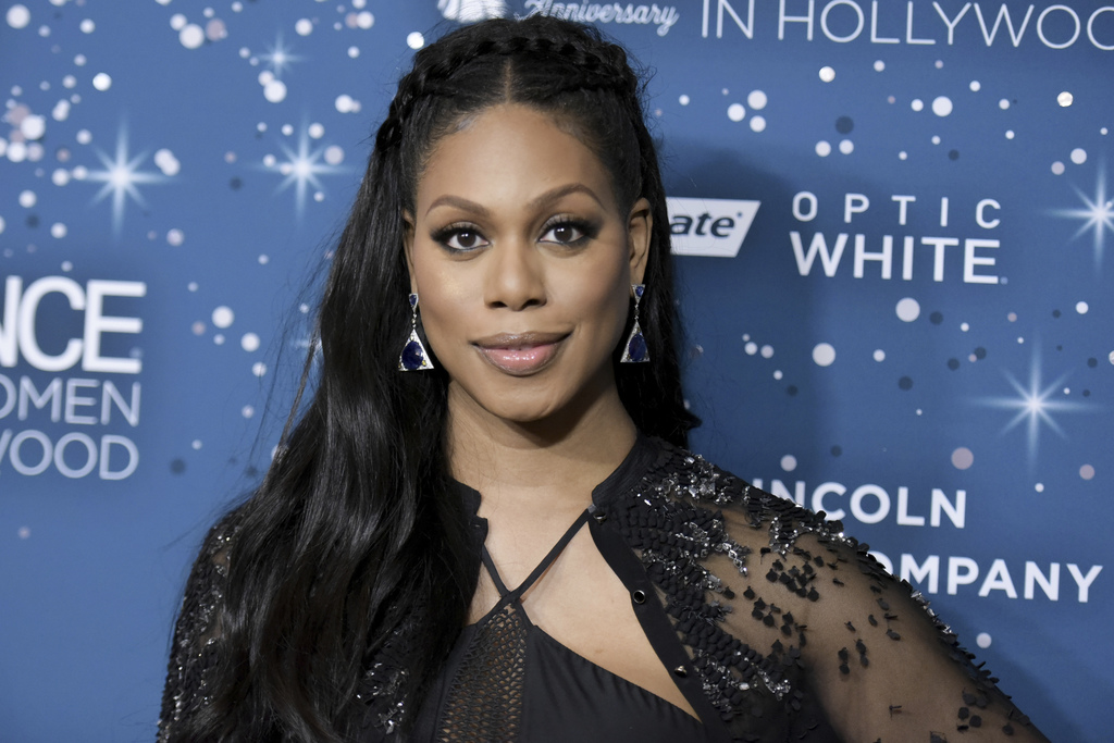 FILE - In this Feb. 23, 2017, file photo, Laverne Cox attends the 10th Annual Essence Black Women in Hollywood Awards ceremony in Bever...