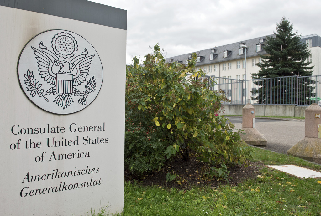 CORRECTS SLUG - FILE - This Oct. 28, 2013 file photo shows the US Consulate General in Frankfurt, Germany. WikiLeaks on Tuesday, March ...