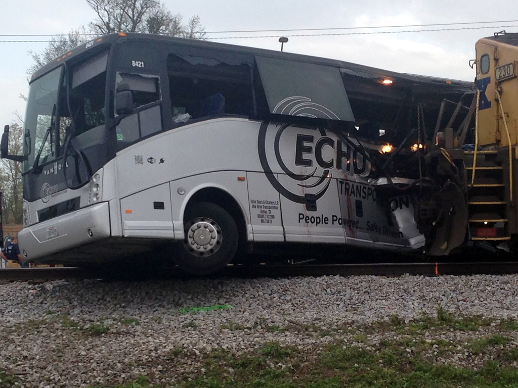 A freight train smashed into a charter bus in Biloxi, Mississippi, on Tuesday, March 7, 2017,  pushing the bus 300 feet down the tracks...