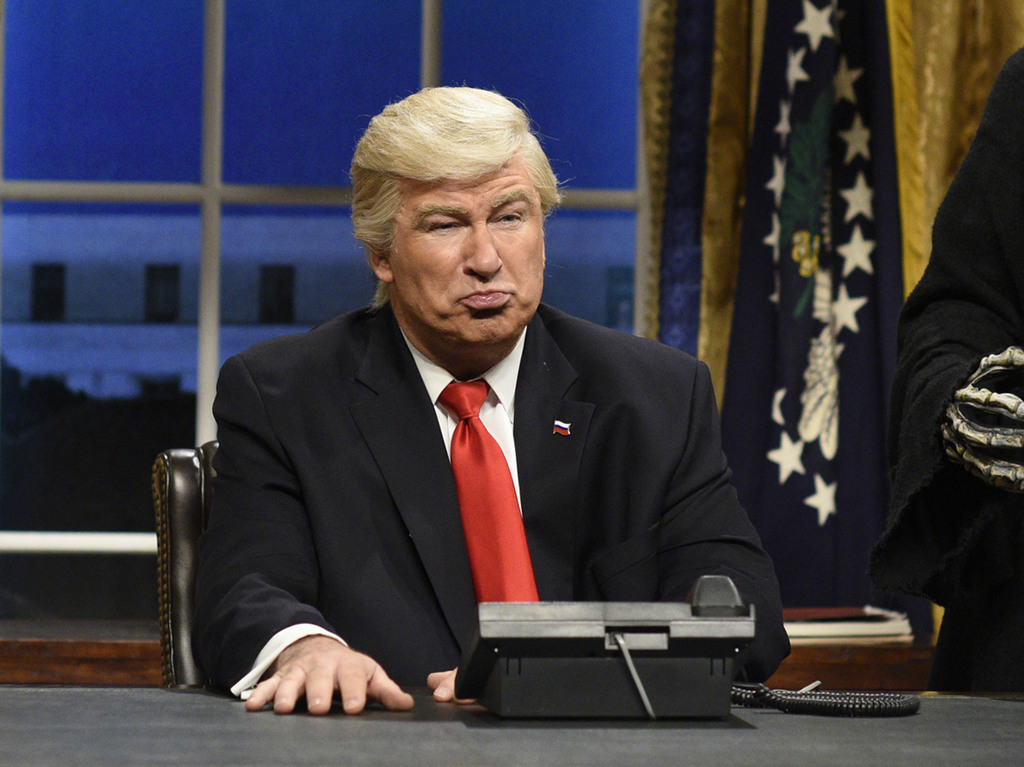"""FILE - This Feb. 4, 2017 file photo released by NBC shows Alec Baldwin portraying President Donald Trump in the opening sketch of """"Satu..."""