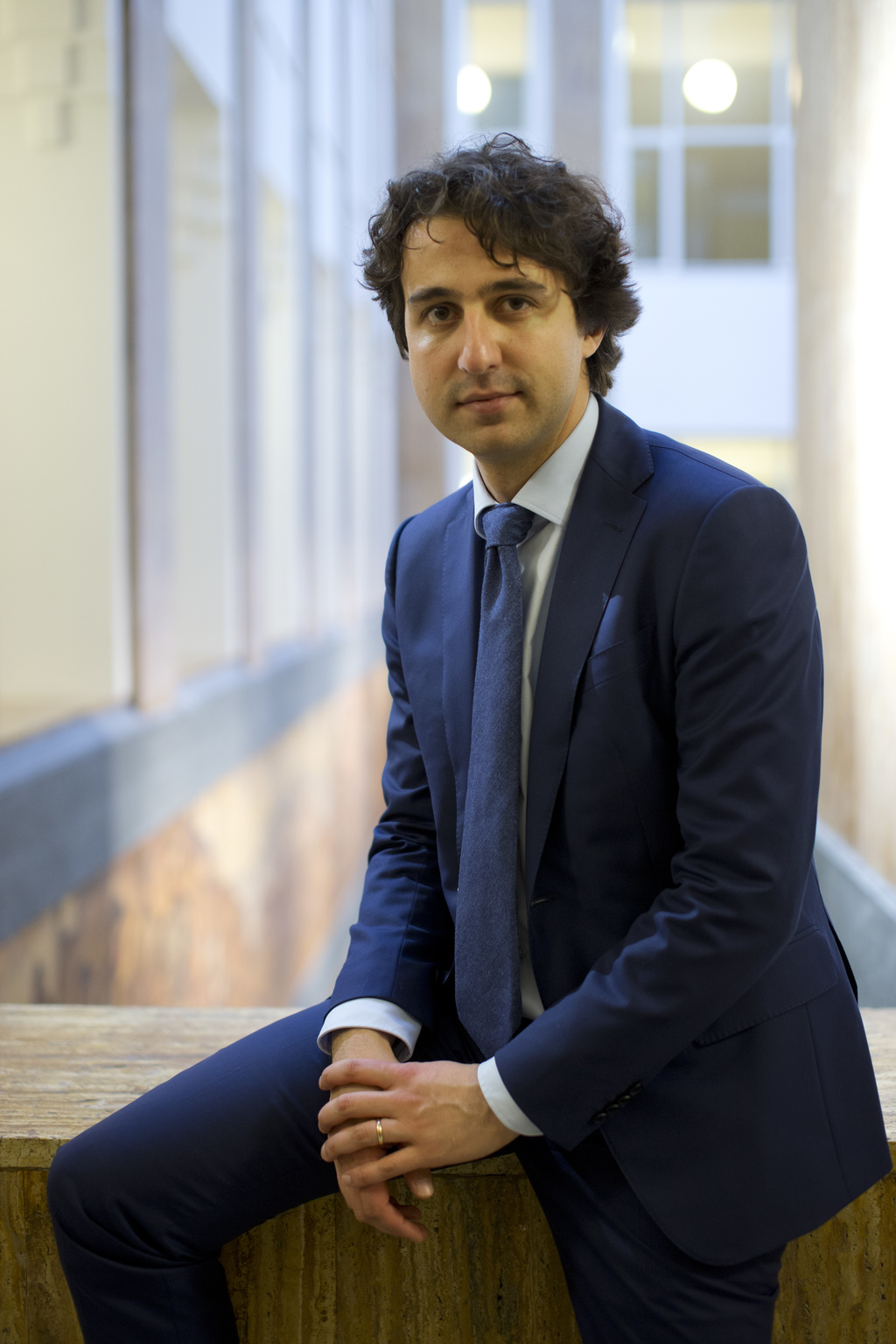 Green Left party leader Jesse Klaver poses for a portrait after an interview in The Hague, Netherlands, Wednesday, March 8, 2017. (AP P...