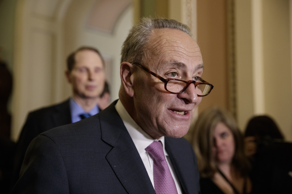 Senate Minority Leader Chuck Schumer of N.Y., criticizes the Republican health care plan designed to replace Obamacare, Tuesday, March ...