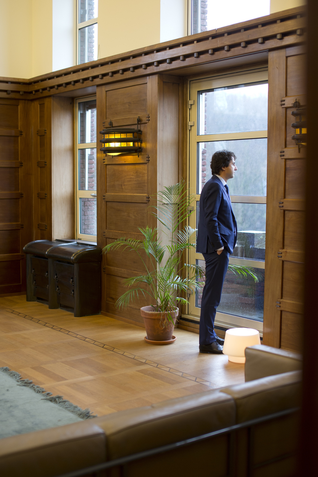 Green Left party leader Jesse Klaver looks out of the window prior to an interview in The Hague, Netherlands, Wednesday, March 8, 2017....