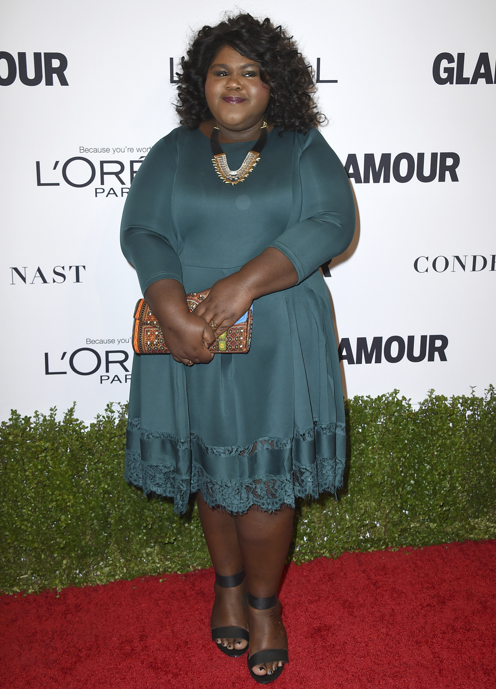 FILE - In this Nov. 14, 2016 file photo, Gabourey Sidibe arrives at the Glamour Women of the Year Awards in Los Angeles. Sidibe says sh...