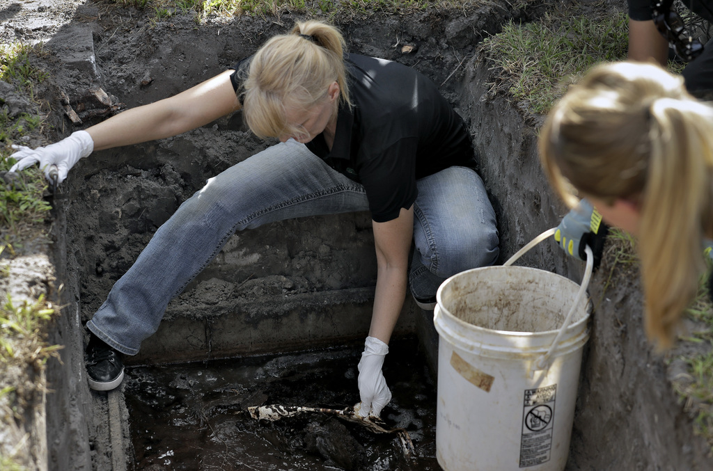 In this Sept. 15, 2016 photo, Dr. Erin Kimmerle begins to open the grave liner covering the remains of an unidentified 1985 female murd...