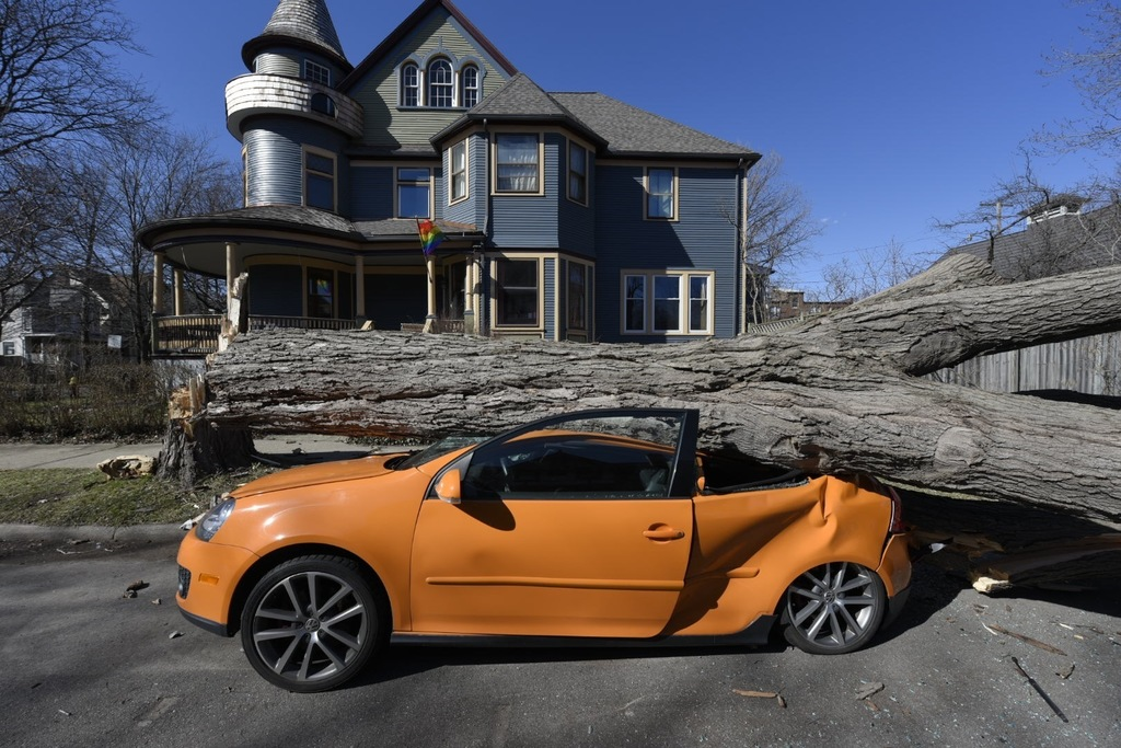 A Volkswagon owned by Lincoln Russell sits crushed under a tree in the Woodbridge neighborhood of Detroit, Wednesday, March 8, 2017, as...