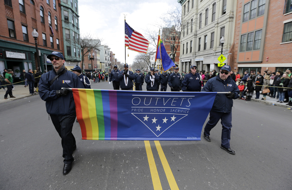 FILE - In this March 20, 2016 file photo, members of OutVets, a group of gay military veterans, march in the annual St. Patrick's Day P...