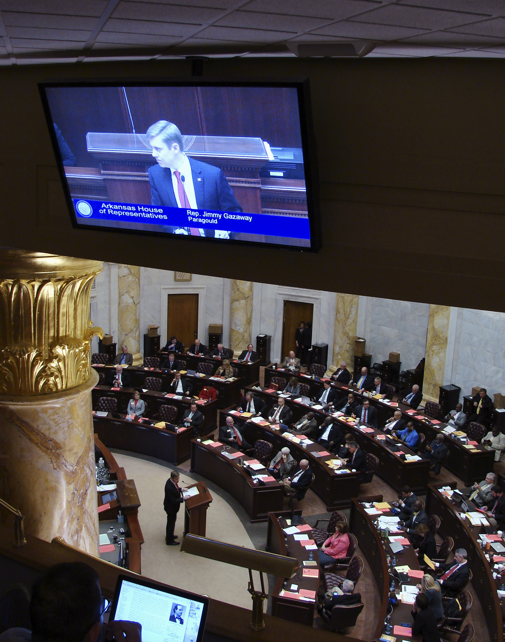 In this March 6, 2017, photo, Arkansas state Rep. Jimmy Gazaway, of Paragould, speaks in the House chamber at the state Capitol in Litt...