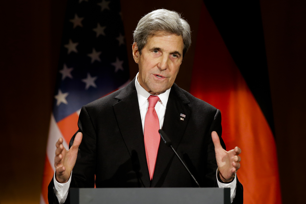 FILE - In this Dec. 5, 2016 file photo, then United States Secretary of State John Kerry delivers his speech after he receives Germany'...