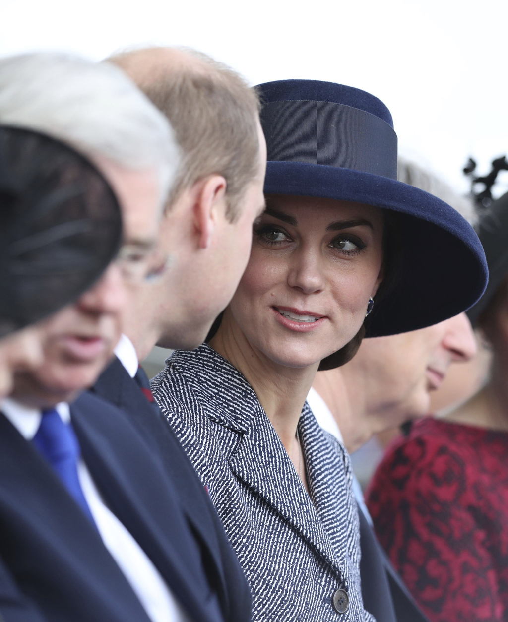 Britain's Kate Duchess of Cambridge looks toward Prince William at a service on Horse Guards Parade in London, ahead of the unveiling o...