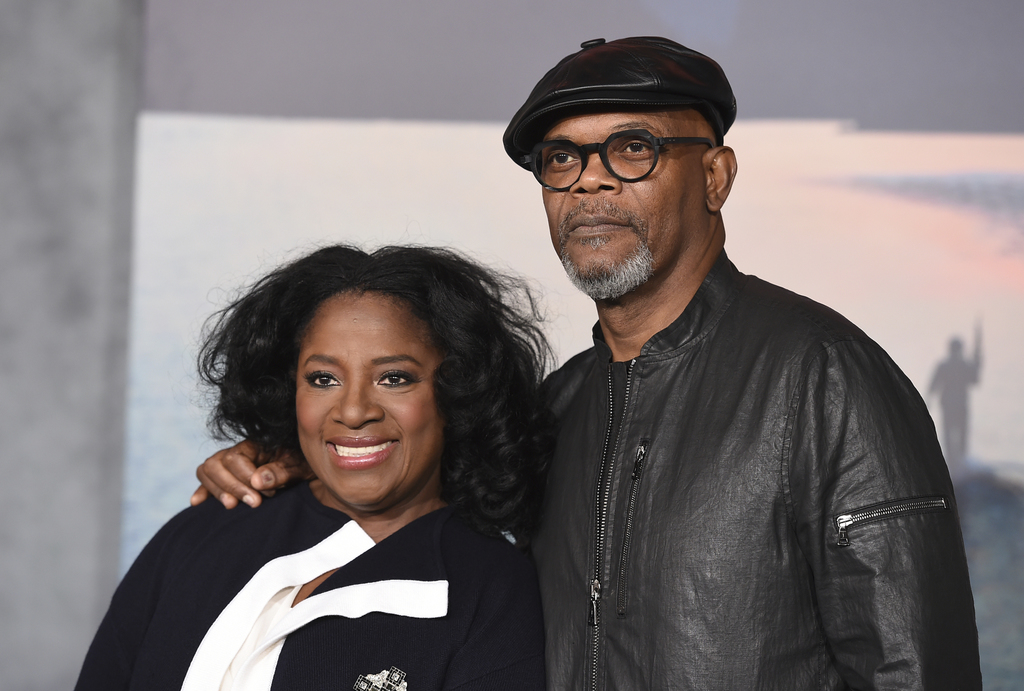 "Samuel L. Jackson, right, and LaTanya Richardson arrive at the Los Angeles premiere of ""Kong: Skull Island"" at the Dolby Theatre on Wed..."