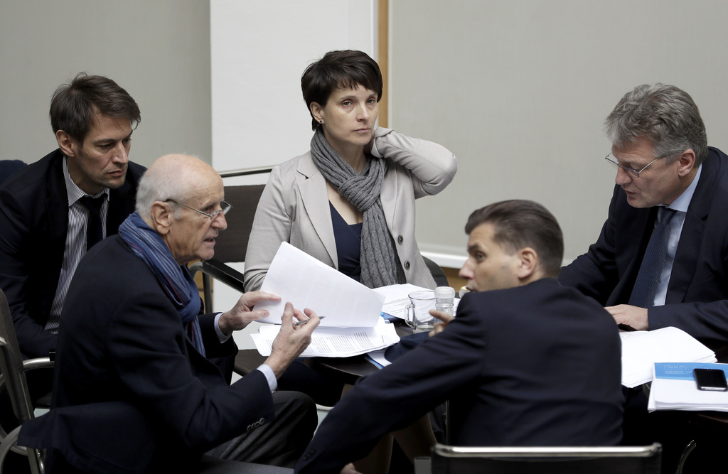 AfD chairwomen Frauke Petry, center, attends a meeting with other members of the party's board prior to a press conference of the 'Alte...