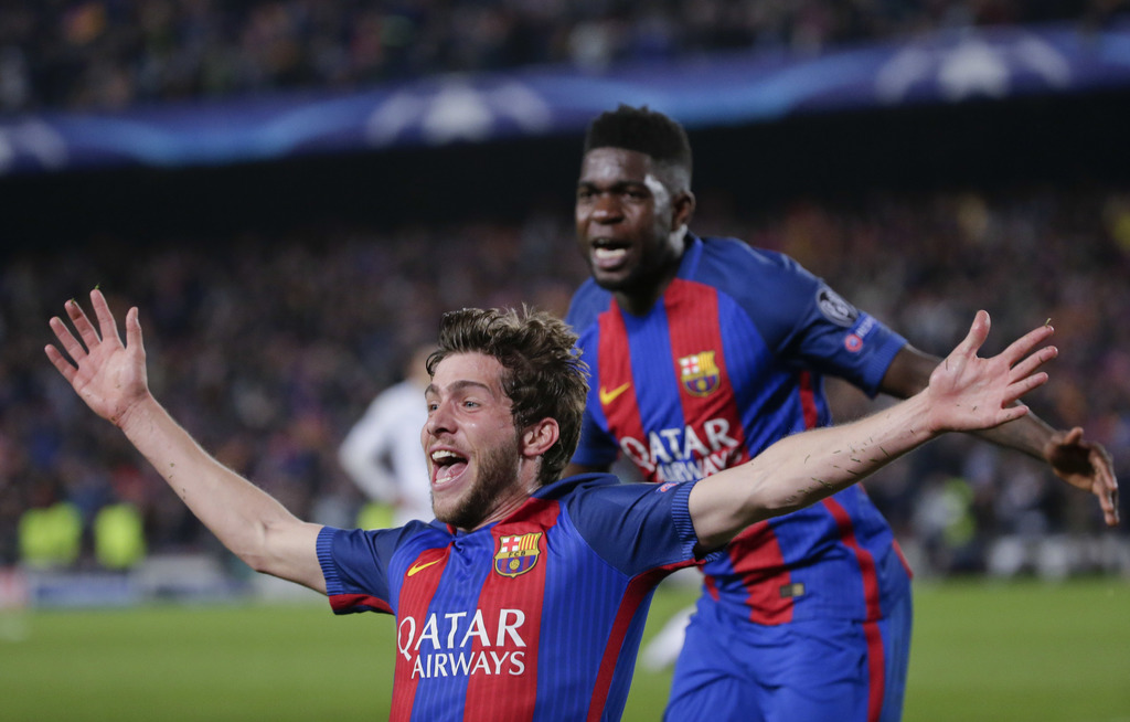 Barcelona's Sergi Roberto celebrates after scoring the sixth goal during the Champions League round of 16, second leg soccer match betw...