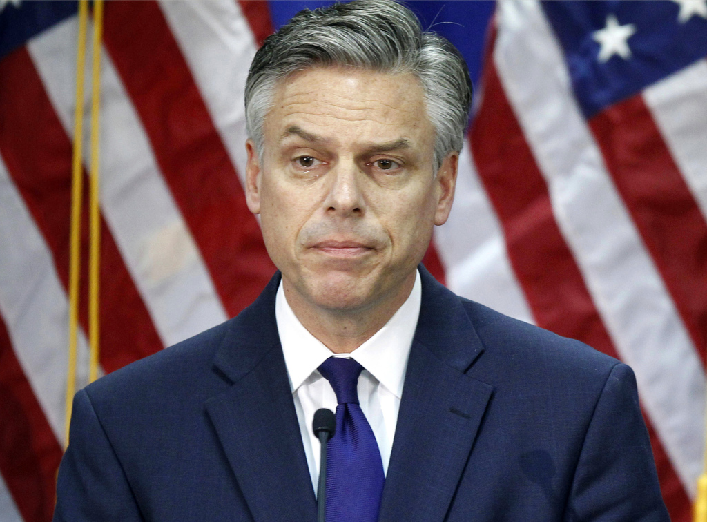 FILE - In this Jan. 16, 2012, file photo, former Utah Gov. Jon Huntsman, announces he is ending his campaign for president in Myrtle Be...