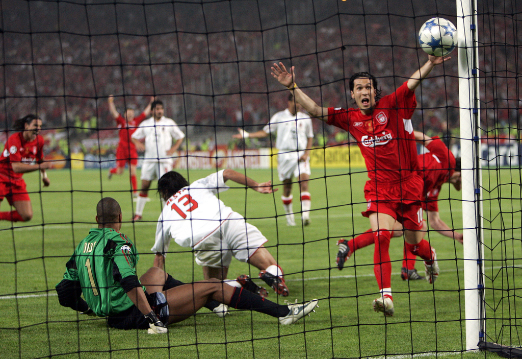 FILE - In this Wednesday, May 25, 2005 file photo, Liverpool's Luis Garcia, right, celebrates after his teammate Xabi Alonso, behind hi...