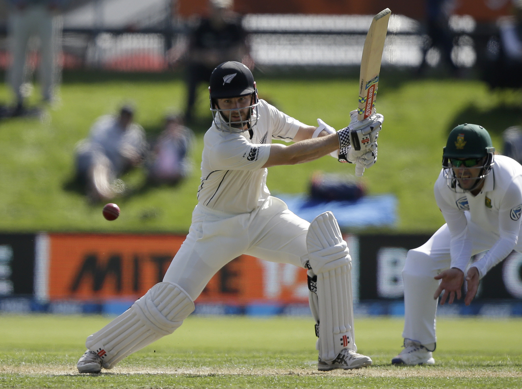 New Zealand's Kane Williamson bats during the first cricket test against South Africa at University Oval, Dunedin, New Zealand, Thursda...