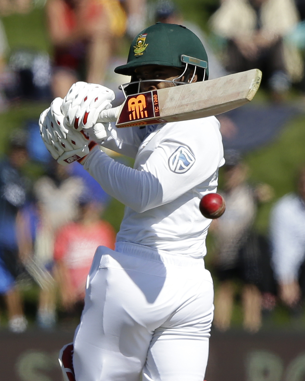 South Africa's Temba Bavuma plays at the ball during the first cricket test against New Zealand at University Oval, Dunedin, New Zealan...