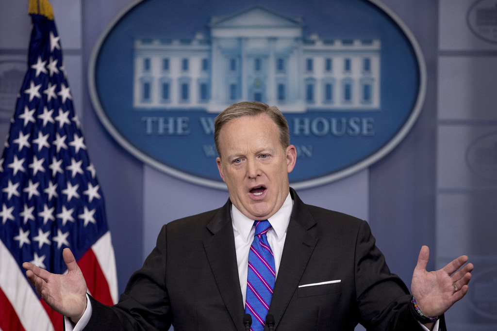 White House press secretary Sean Spicer talks to the media during the daily press briefing at the White House in Washington, Wednesday,...