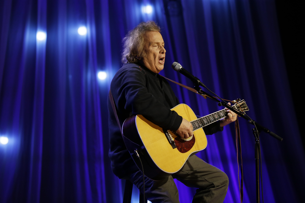 In this Tuesday, Dec. 13, 2016, photo, Don McLean performs during a taping of Dolly Parton's Smoky Mountain Rise Telethon in Nashville,...