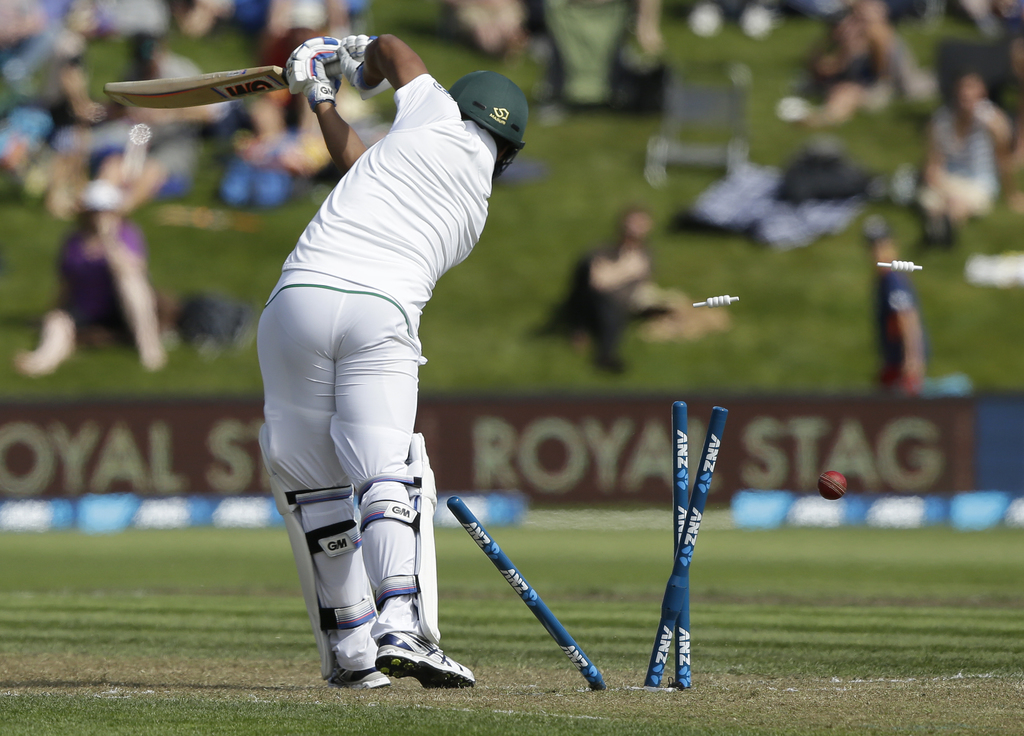 South Africa's Vernon Philander is out bowled during the first cricket test against New Zealand at University Oval, Dunedin, New Zealan...