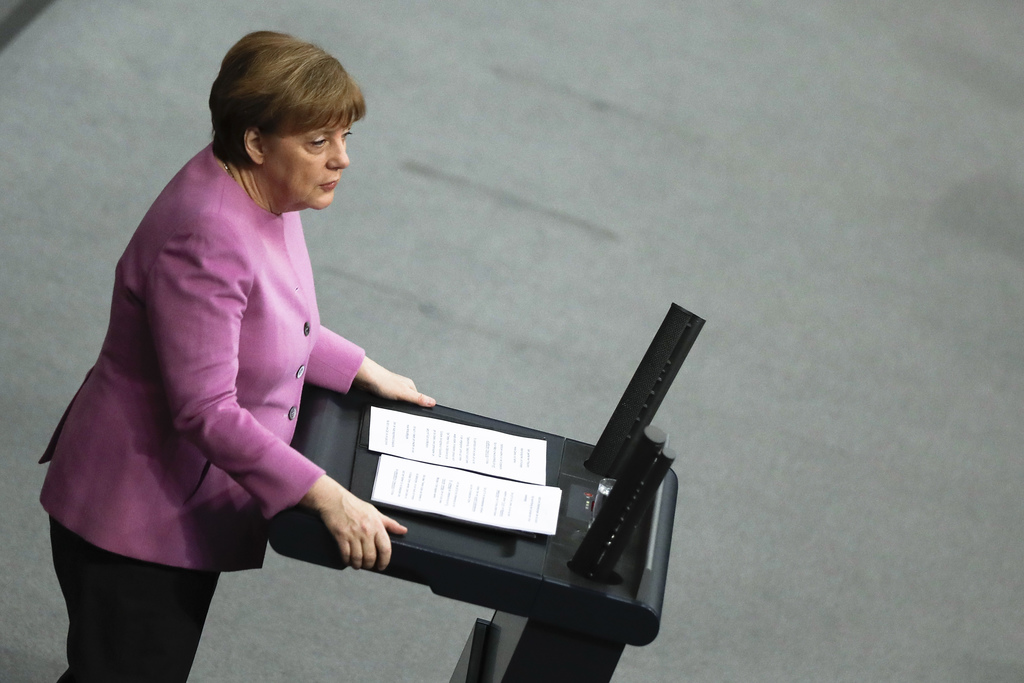 German Chancellor Angela Merkel delivers a speech on Europe ahead of an EU summit in Brussels at the German parliament Bundestag in Ber...