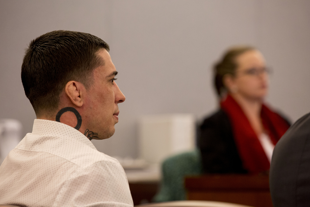 Former mixed martial arts fighter War Machine, also known as Jonathan Koppenhaver, listens to the testimony from victim and ex-girlfrie...