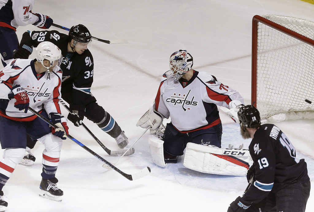 San Jose Sharks center Logan Couture (39) scores a goal past Washington Capitals goalie Braden Holtby (70) during the third period of a...