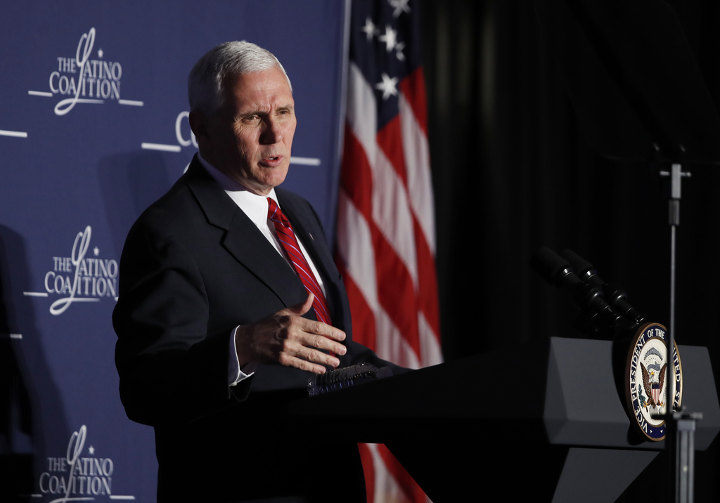"""Vice President Mike Pence speaks to the Latino Coalition's """"Make Small Business Great Again Policy Summit"""" in Washington, Thursday, Mar..."""
