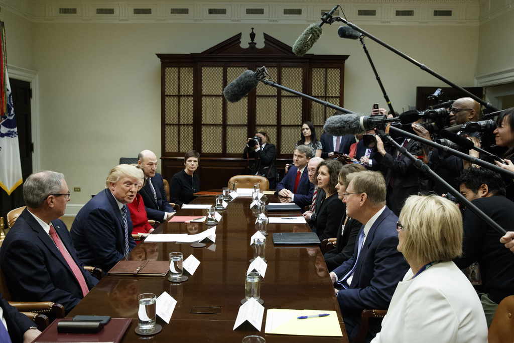President Donald Trump speaks in the Roosevelt Room of the White House in Washington, Thursday, March 9, 2017, during a meeting with le...