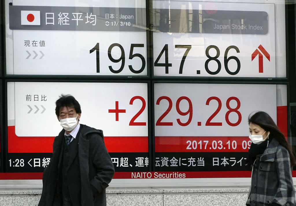 A man and a woman wearing masks walk past an electronic stock board of a securities firm showing Tokyo's Nikkei 225 stock index in Toky...
